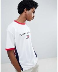Tommy Jeans 90s Sailing Capsule Flag Logo Ringer Soccer T Shirt Back Logo Number In Whitenavyred