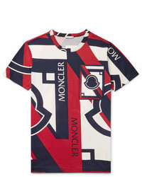 Moncler C Slim Fit Appliqud Printed Cotton Jersey T Shirt