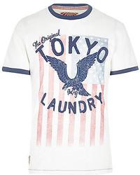 River Island Ecru Tokyo Laundry Eagle Print T Shirt