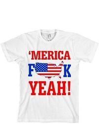 American Apparel Merica Fk Yeah T Shirt American Flag Tee F Yea Made In Usa