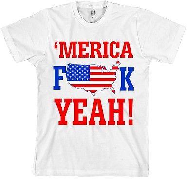 American Apparel Merica Fk Yeah T Shirt American Flag Tee F Yea Made