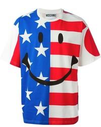 Moschino Smiley And Flag Print T Shirt