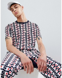 Champion T Shirt With All Over Print In Navy