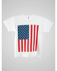 American Apparel Us Flag Print Power Washed Tee