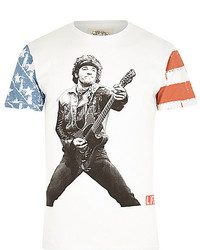 River Island White Worn By Guitar Print T Shirt