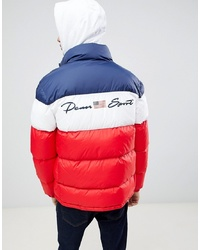 White and Red and Navy Puffer Jacket