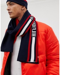 Tommy Hilfiger Icon Logo Knitted Scarf In Navy