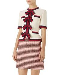 Gucci Stripe Bow Wool Jacket