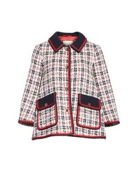 White and Red and Navy Tweed Jacket