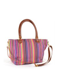 White and Red and Navy Vertical Striped Canvas Tote Bag