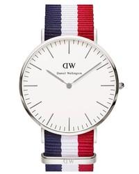 Daniel Wellington Classic Cambridge Nato Strap Watch 40mm Red White Blue Rose Gold