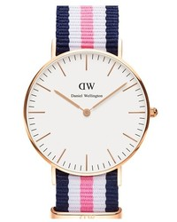 Daniel Wellington Classic Southampton Nato Strap Watch 36mm Blue White Pink Rose Gold