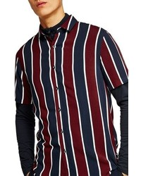 White and Red and Navy Vertical Striped Short Sleeve Shirt