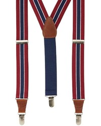 White and Red and Navy Vertical Striped Suspenders
