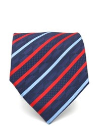 Ferrecci Slim Red And Blue Classic Striped Necktie With Matching Handkerchief Tie Set