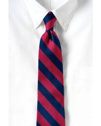 Lands' End Long Wide Stripe Necktie Dark Sapphireburgundy
