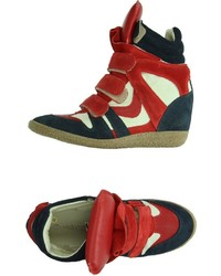 White and red and navy wedge sneakers original 3231915