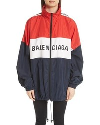 White and Red and Navy Windbreaker