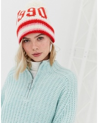 New Look 1990 Stripe Bobble Hat In Pink Pattern