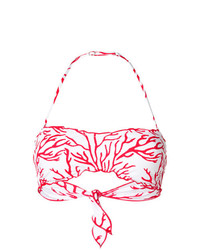 MC2 Saint Barth Coral Print Bandeau Bikini Top