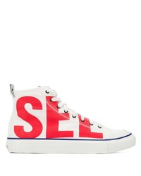 White and Red Canvas High Top Sneakers