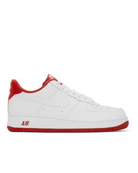 Nike White And Red Air Force 1 07 Sneakers