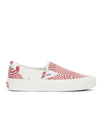 Vans Red And Off White Check Og Classic Slip On Lx Sneakers