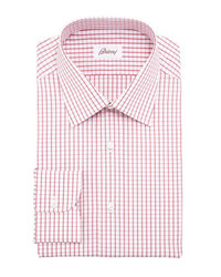 Brioni Windowpane Check Dress Shirt Red