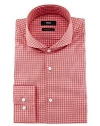BOSS Dwayne Slim Fit End On End Check Dress Shirt Redwhite