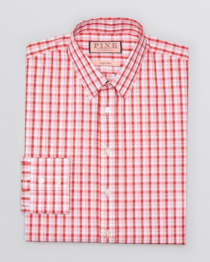 Hugo boss slim shirts versus thomas pink for Pink checkered dress shirt