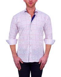White and Red Check Long Sleeve Shirt