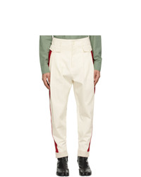 Maison Margiela Off White And Red Stripe Trousers