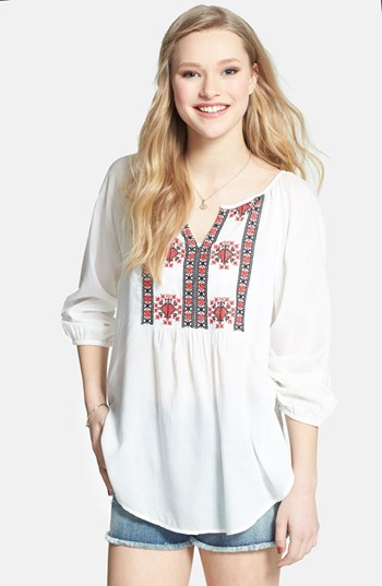 White and Red Embroidered Peasant Blouse: Angie ...