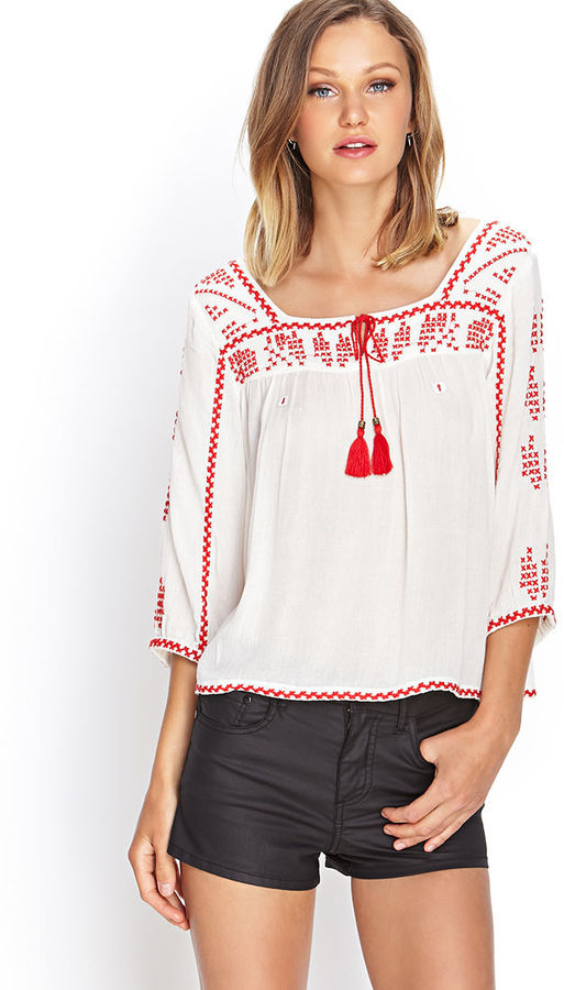 cd7170a0333a89 Forever 21 Embroidered Peasant Top, $22 | Forever 21 | Lookastic.com