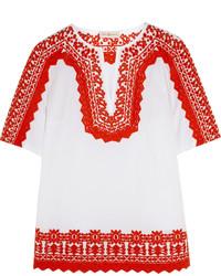 Tory Burch Isla Embroidered Stretch Cotton Poplin Tunic