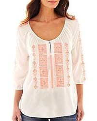 jcpenney Jcp 34 Sleeve Embroidered Peasant Top