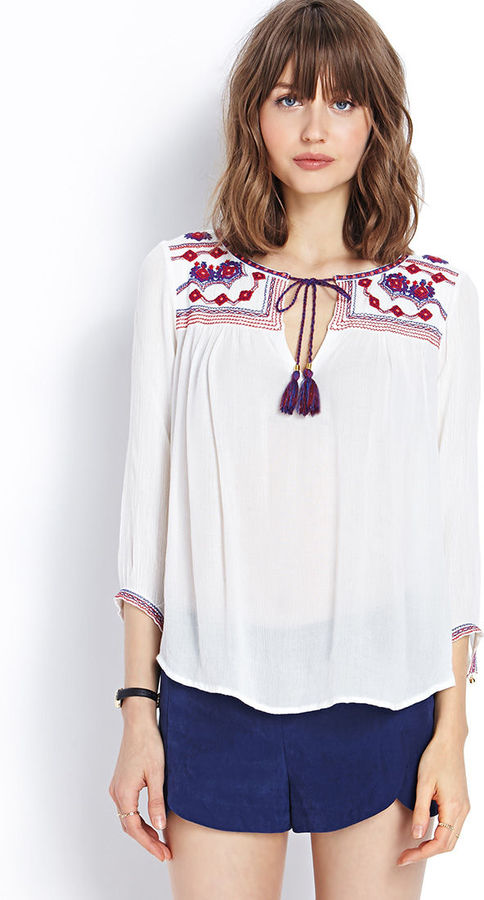 cb8eb1f5b68abc ... Embroidered Peasant Blouses Forever 21 Poetic Peasant Top ...