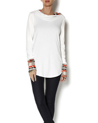 Mon longline print contrast hoodie medium 129274