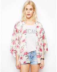 White and Red Floral Kimono