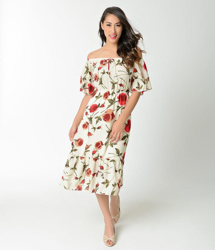 7d9825fe9a ... Midi Dresses Unique Vintage 1940s Style Cream Red Floral Off Shoulder  Sheath Dress ...