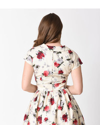 d1ee8173f9 Hell Bunny 1950s Style Cream Red Florals Rosemary Swing Dress ...