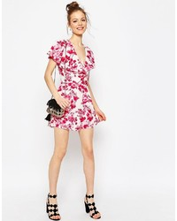6832a2bb340 ... Asos Collection Ruffle Wrap Romper In Floral Print