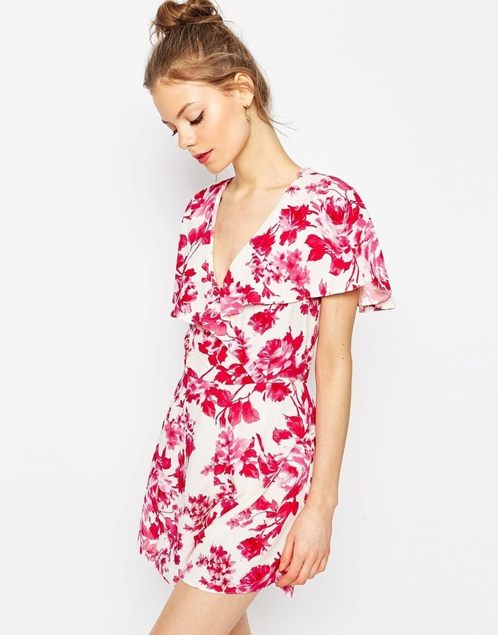13efc999055 ... White and Red Floral Playsuits Asos Collection Ruffle Wrap Romper In  Floral Print ...