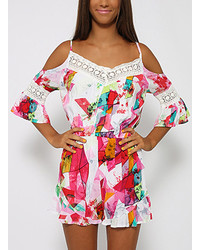 Contrast Lace Off The Shoulder Florals Romper
