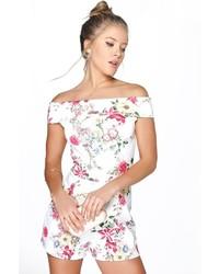 Boohoo Lola Bardot Off The Shoulder Floral Playsuit