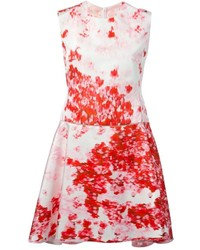 White and Red Floral Skater Dress