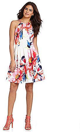 67f189abdd1 ... Vince Camuto Burst Floral Print Halter Fit And Flare Dress ...