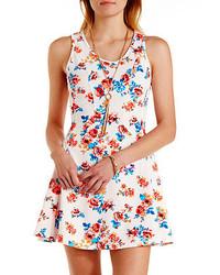 Charlotte Russe Textured Floral Print Skater Dress