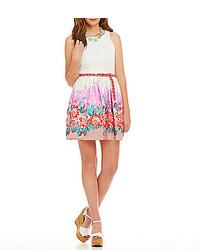 B. Darlin Lace Bodice Floral Border Print Dress