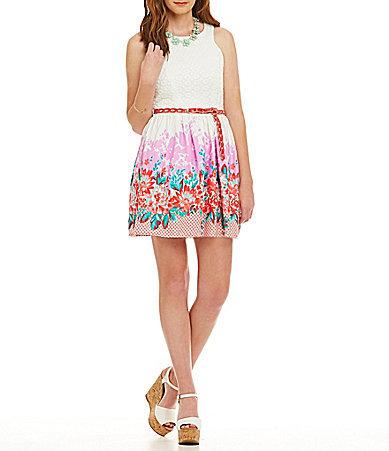 ffd5d9efc B. Darlin Lace Bodice Floral Border Print Dress, $69   Dillard's ...